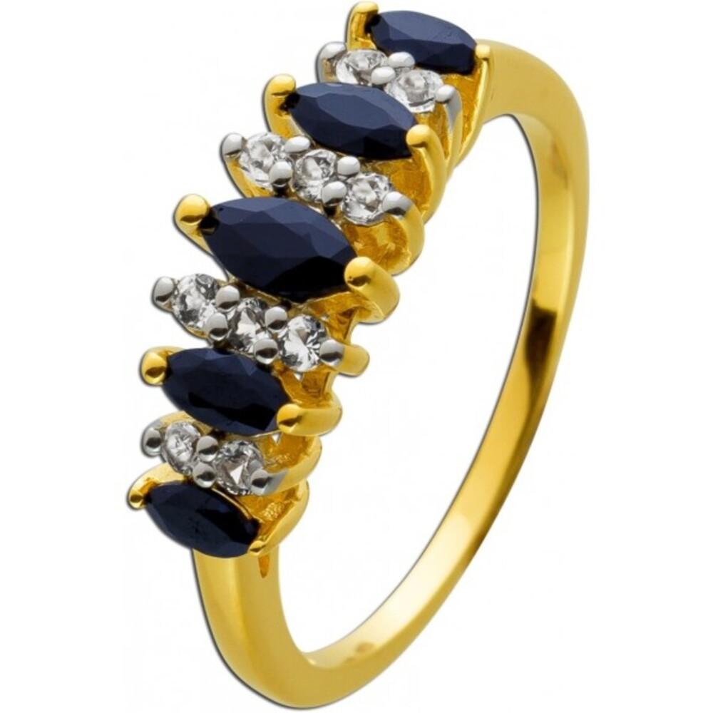Saphirring  Silber 925 gelb vergoldet blaue Safire weiße Topase