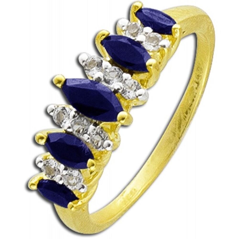 Saphirring  Silber 925 gelb vergoldet blaue Safire weiße Topase_01
