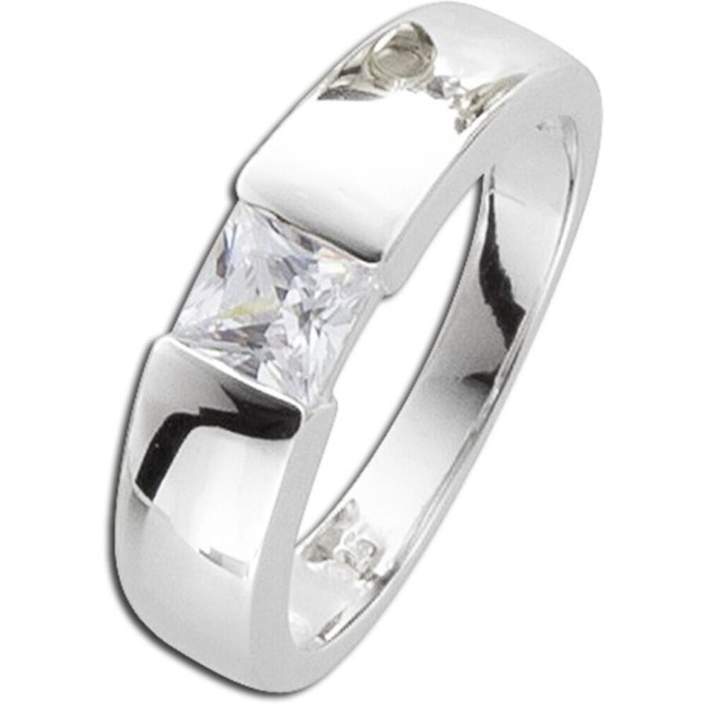 Silberring weißem Zirkonia Silber 925 Damenring 1
