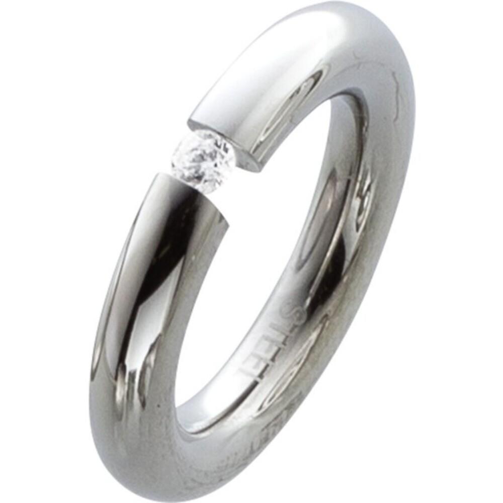 Edelstahl Ring Solitaerring Damenring Ring Edelstahlring mit weissem Zirkonia Toyo Yamamoto