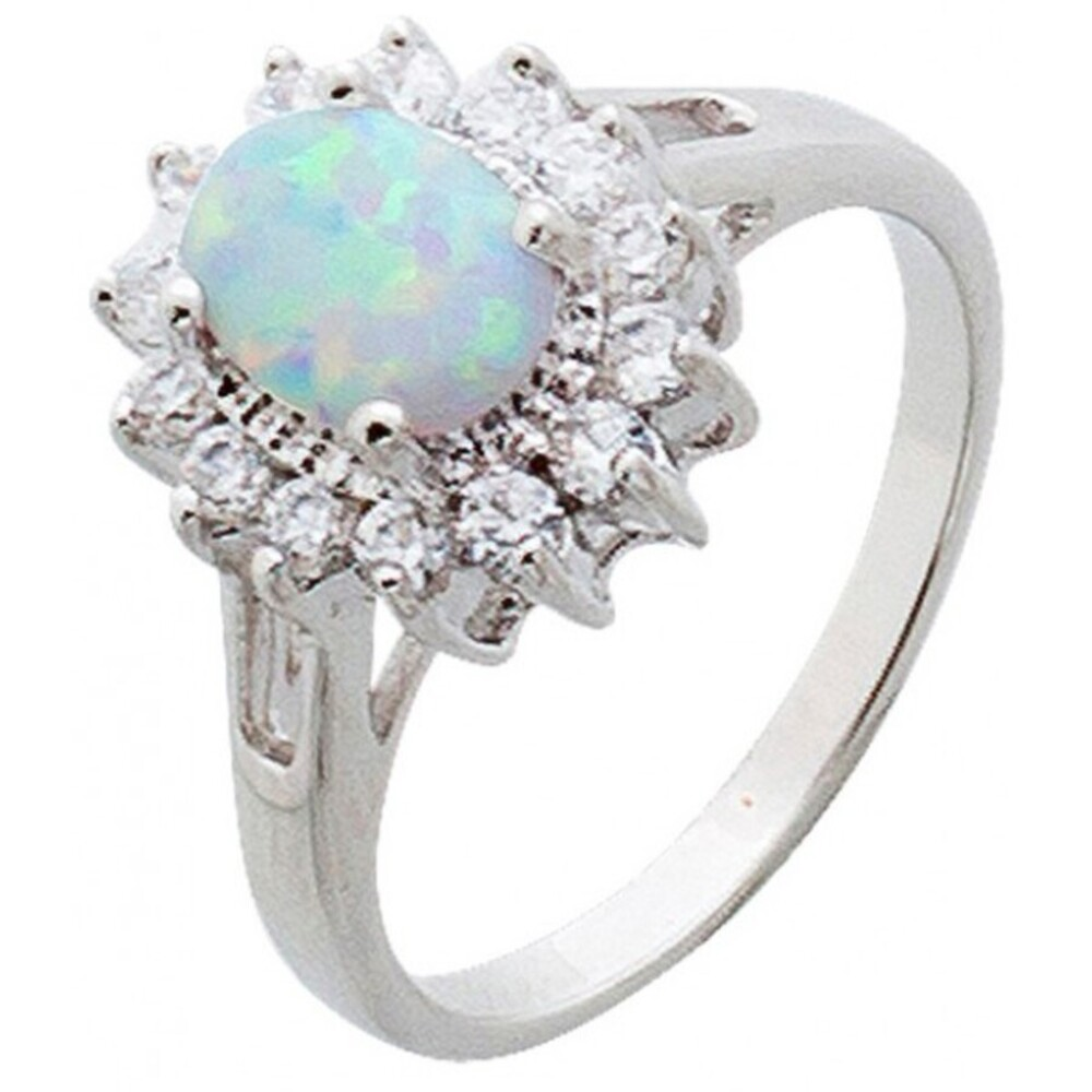 Opal Ring weiss blau Silber 925 lady di style Zirkonia 5