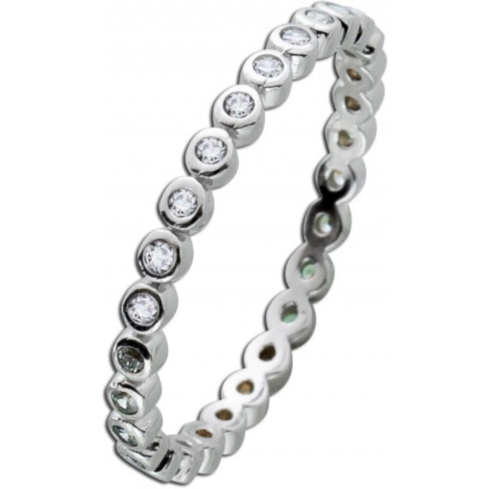 Silber Memoire Ring weißen Zirkonia Silber 925  1