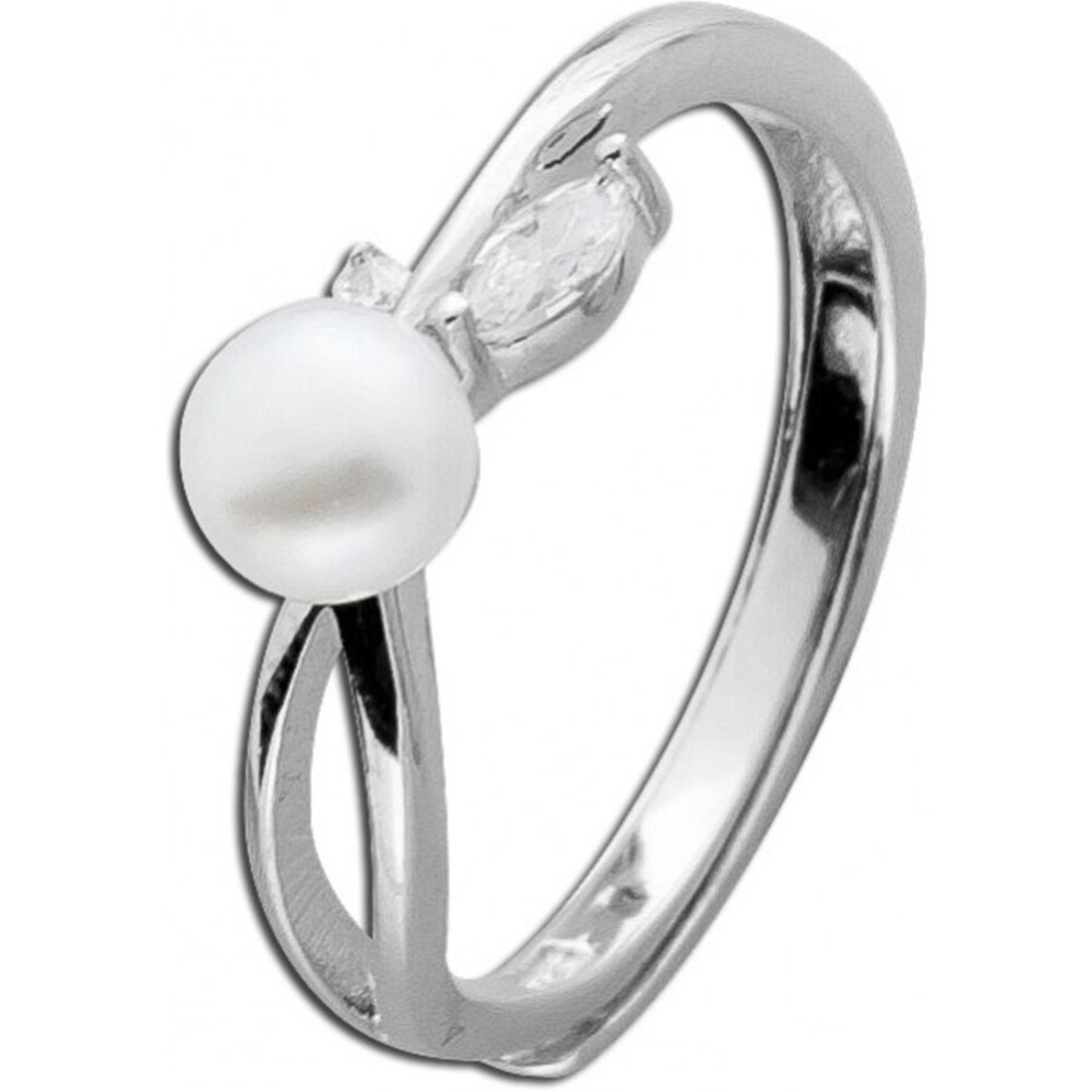 Damenring Silber rhodiniert Zirkonia Ring Sterling Silber 925 Süßwasserzuchtperle