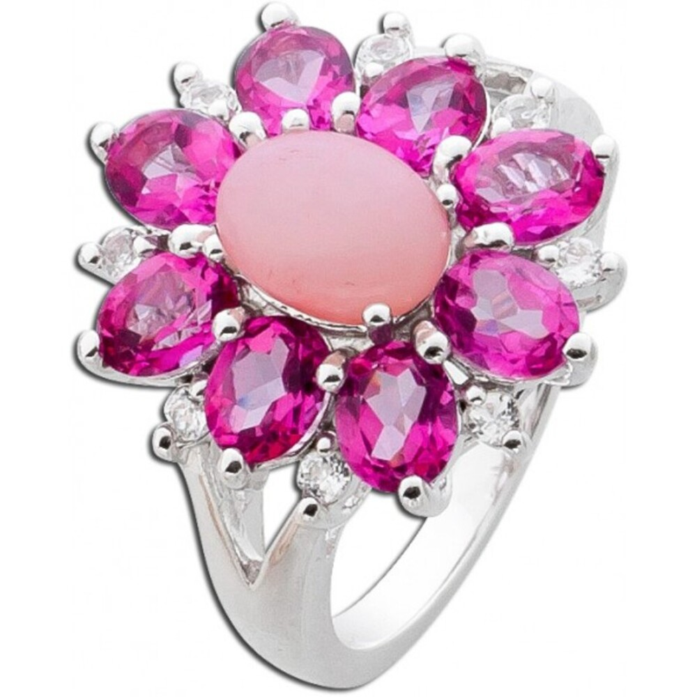 Ring Sterling Silber 925 pink Opal pink Topase weisse Topase Edelsteine_1