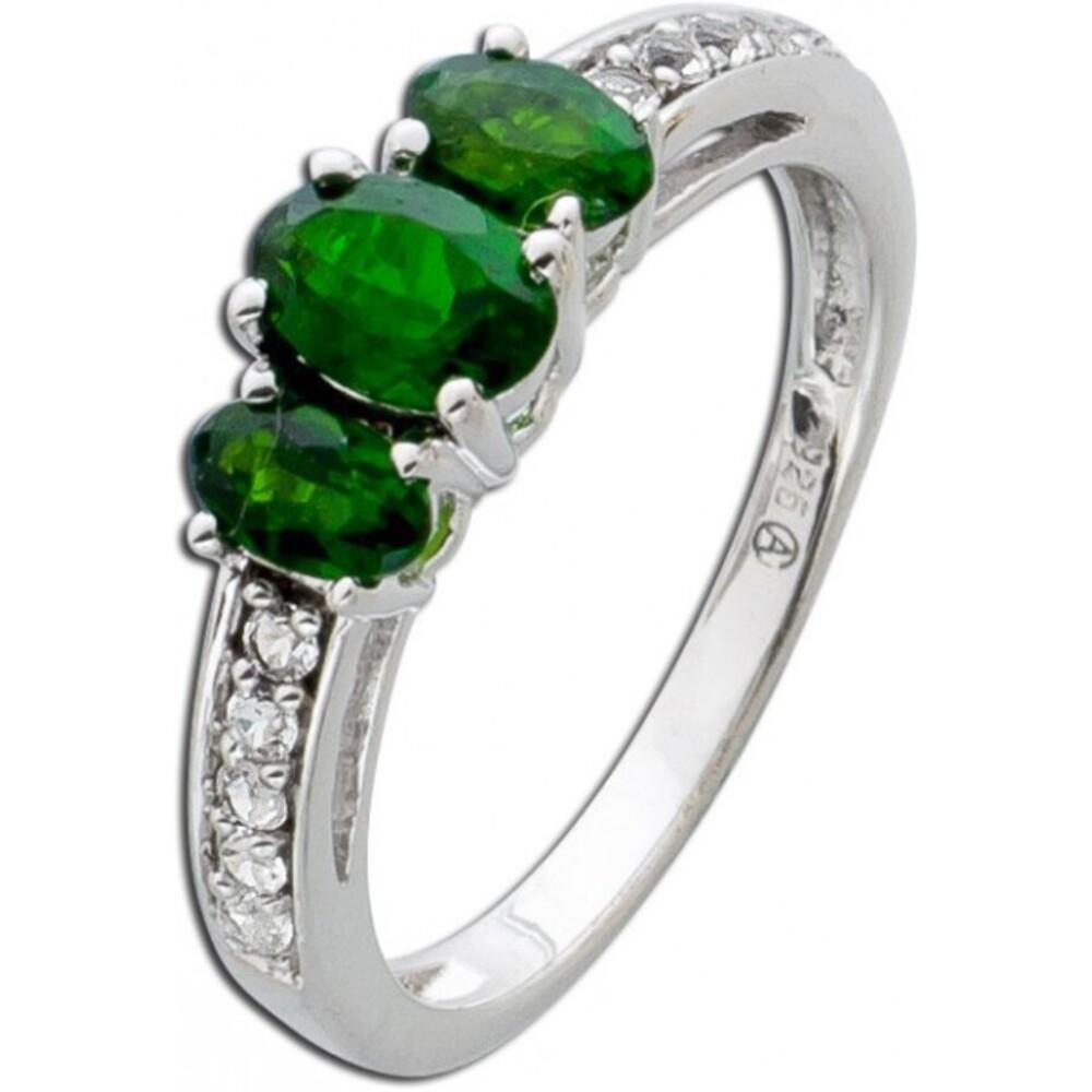 Grüner Edelstein Ring Silber 925 grüne Chromdiopside weisse Topase_01