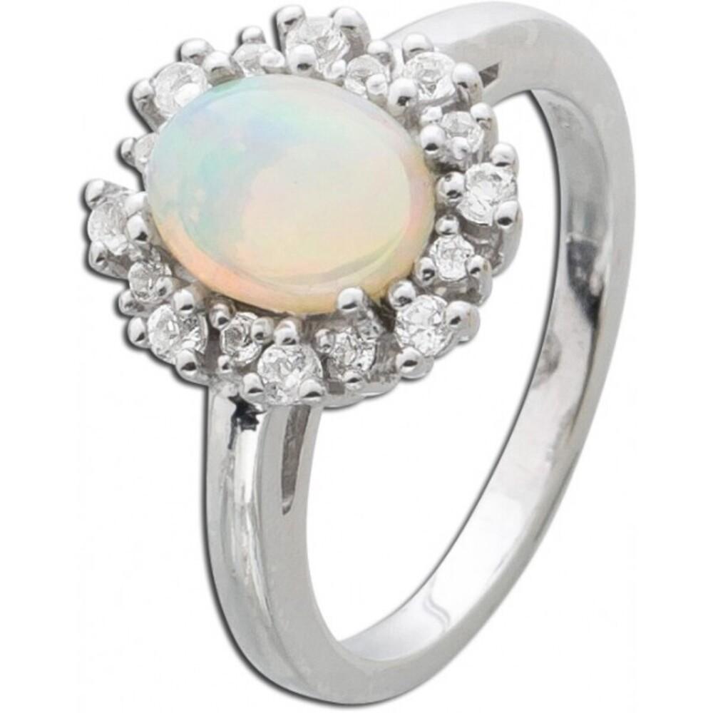 Silberring 925 Opal weiße Topase_01