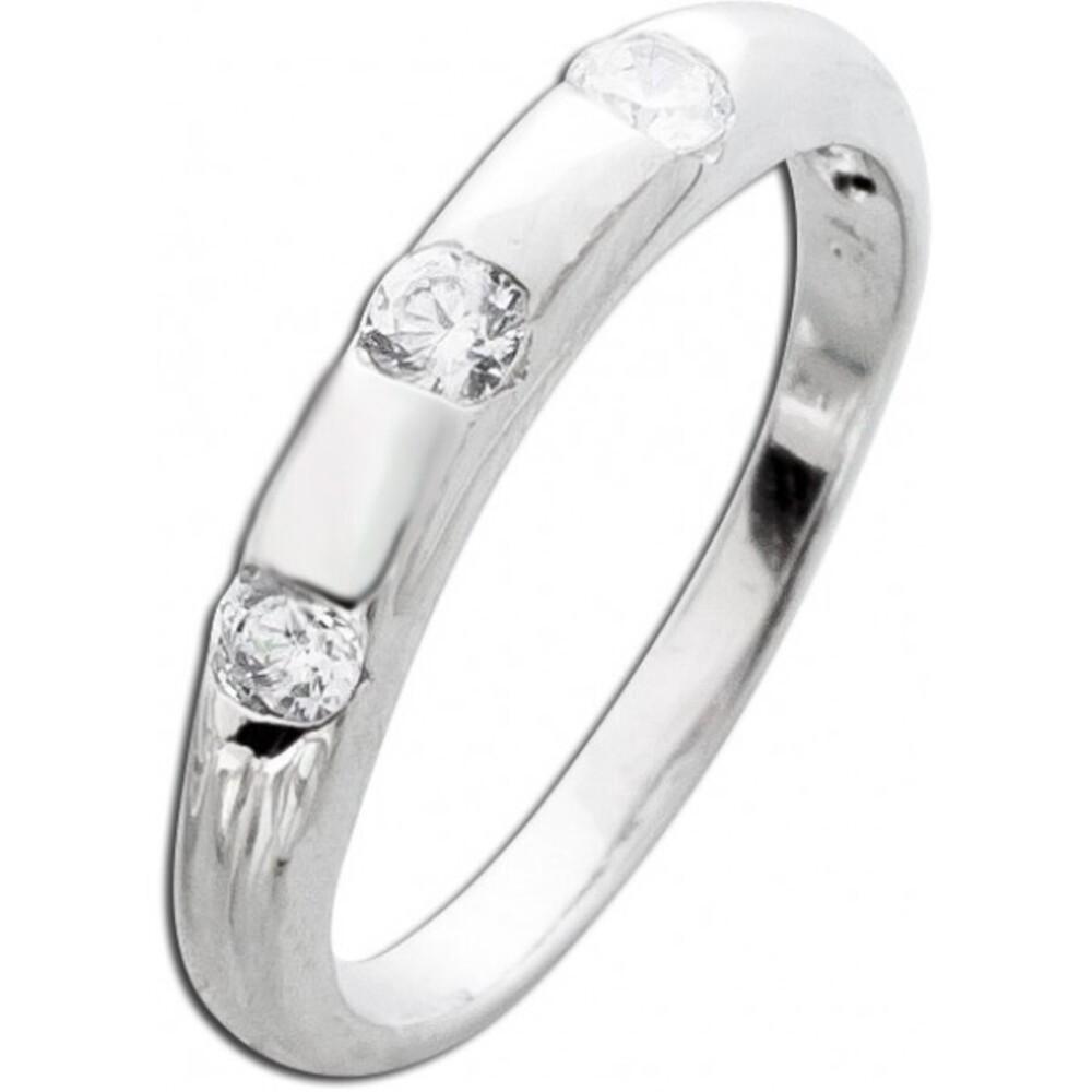 Zirkoniaring Silberring Damenring weisse klare Zirkonia Sterling Silber 925 _01