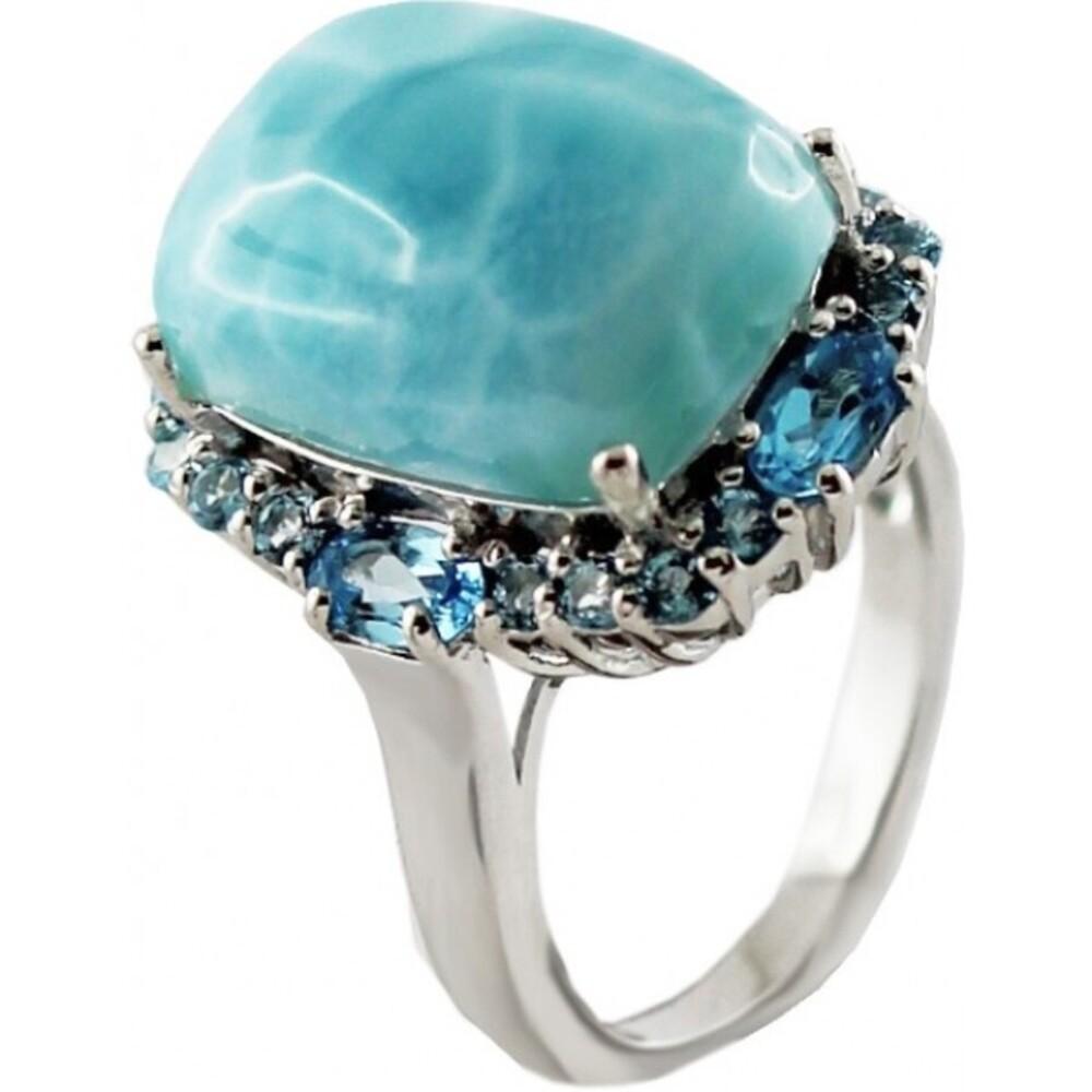 Blauer Larimarring Sterling Silber 925 Blautopas_01