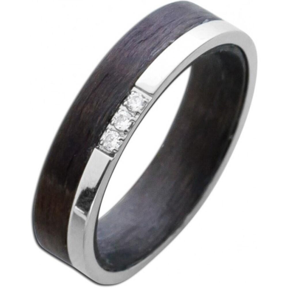 Bicolor Ring Edelstahl schwarzes Carbon weisse  Zirkonia T-Y -3