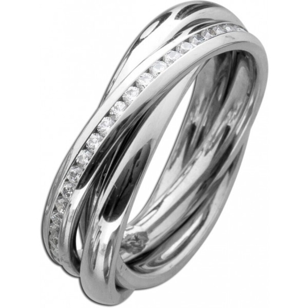 Trinity Ring 3 Ringe ineinander Damenring Edelstahl T-Y weisse Zirkonia-3