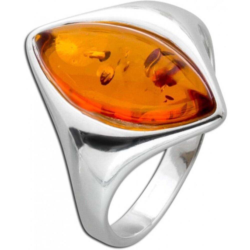 Ring Silber 925 mit Bernstein braun 16-20mm