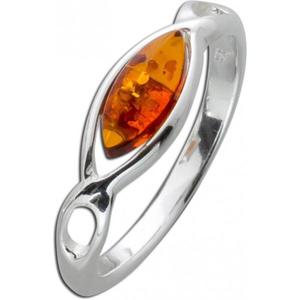 Bernstein Ring Braun Orange Cognac Silber 925  eckig Navette Bernstein  1