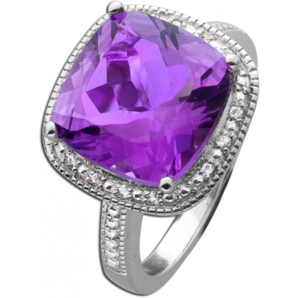 Violetter Amethyst Grosser Edelstein-Ring Sterling Silber 925   weissen Topase 3