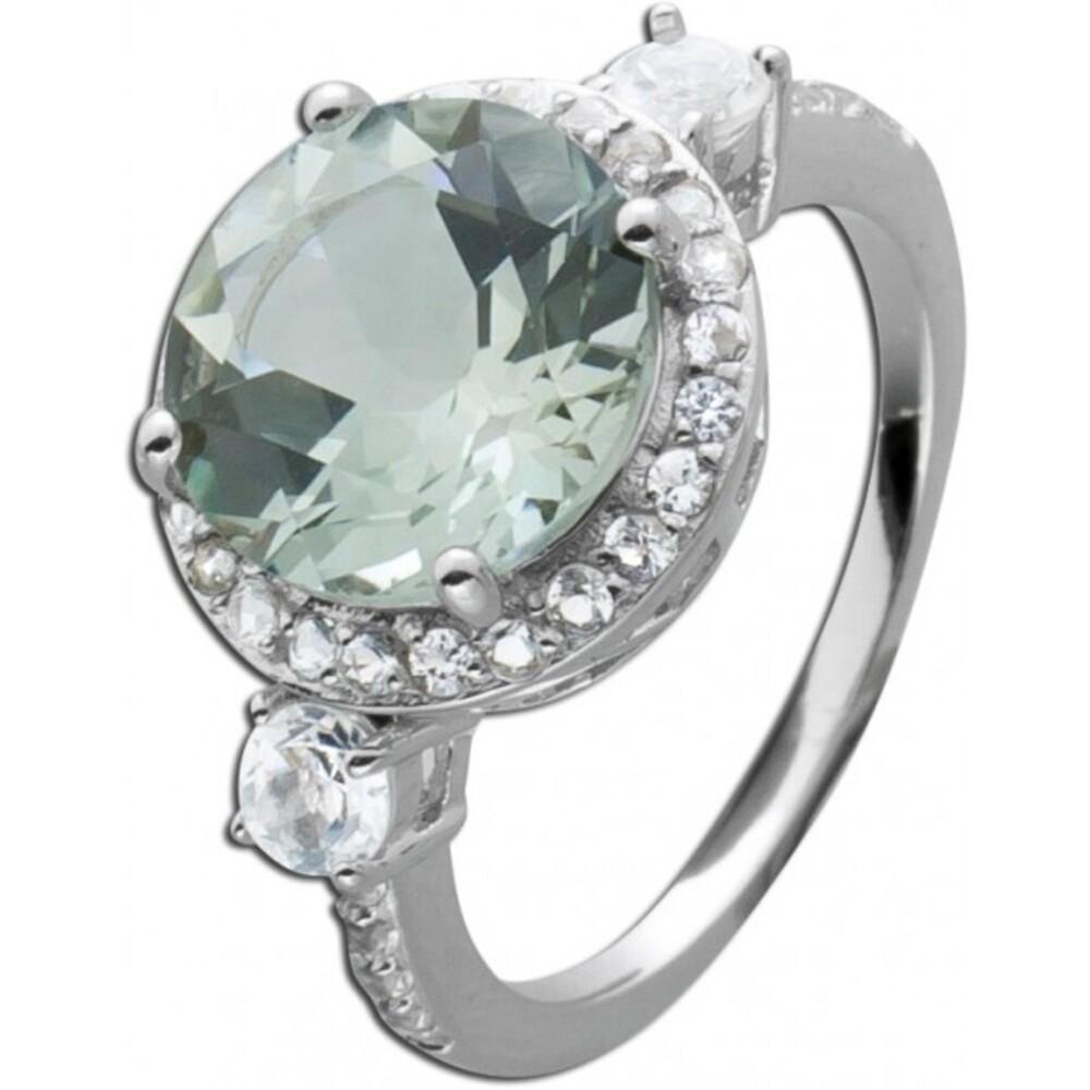 Grüner Amethyst Ring Edelstein Silber runder grüner Edelstein 3