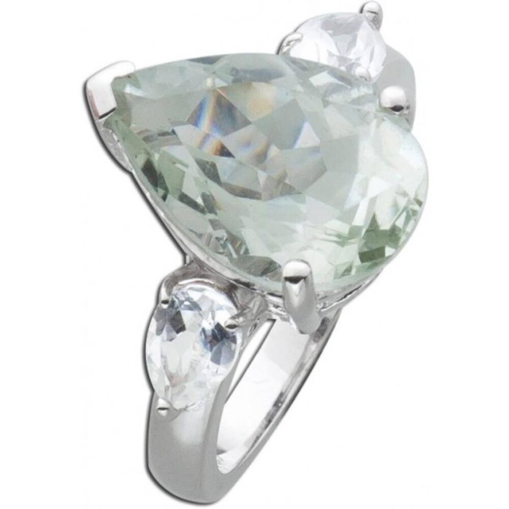 Grüner Amethyst Ring Sterling Silber 925  grünen runden Zirkonia_3