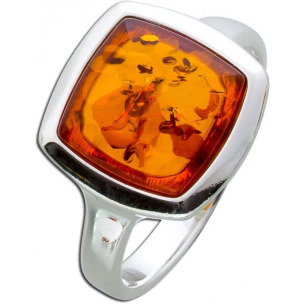Bernstein Ring Sterling Silber 925 eckig braun