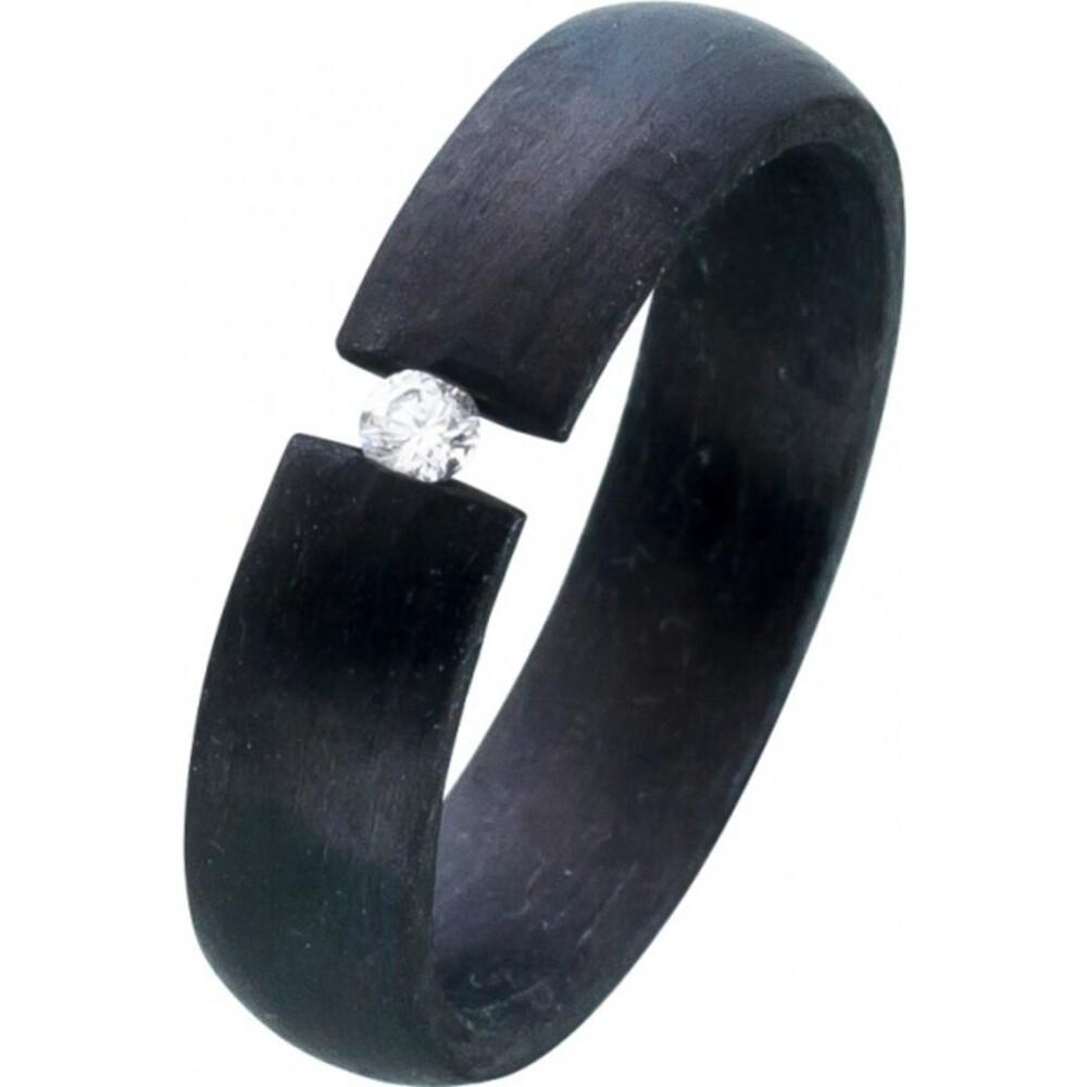 Schwarzer Carbonring weißen Zirkonia Spannring Toyo Yamamoto 1