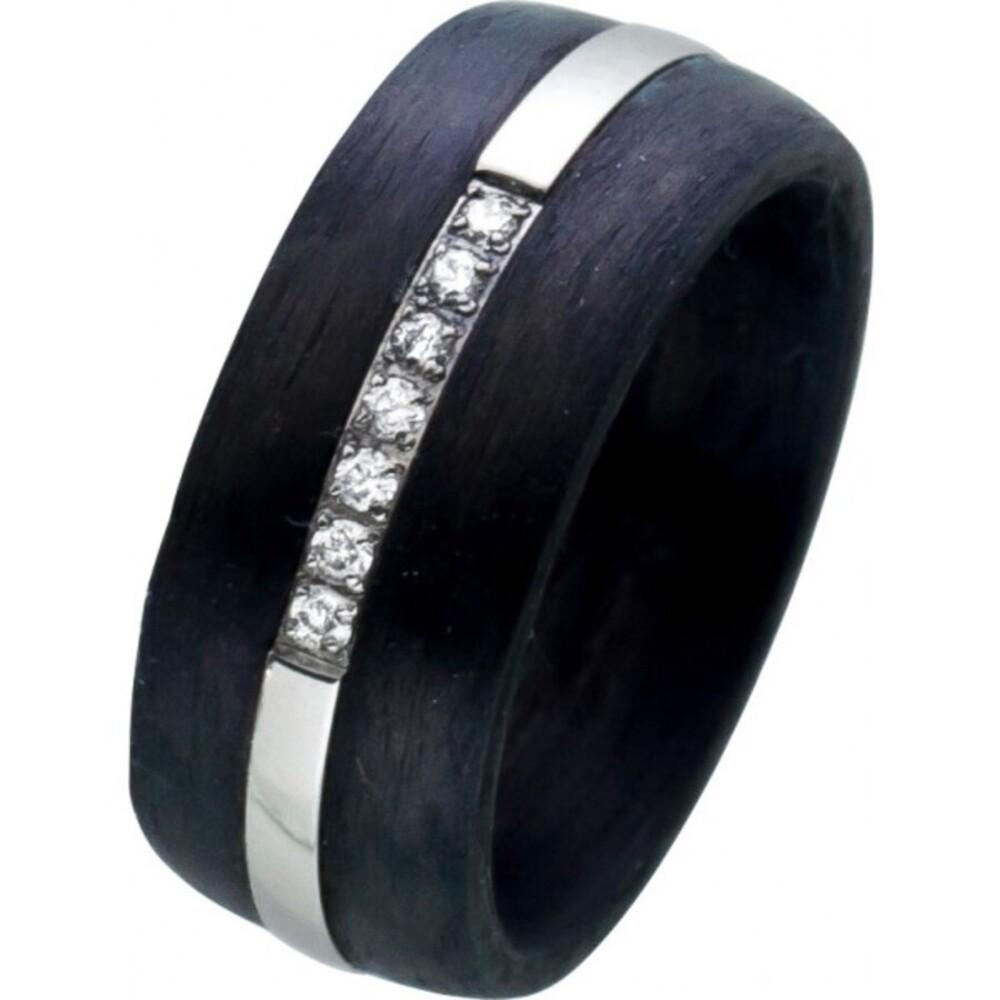 Edelstahlring schwarzem Carbon weißen Zirkonia Toyo Yamamoto 1