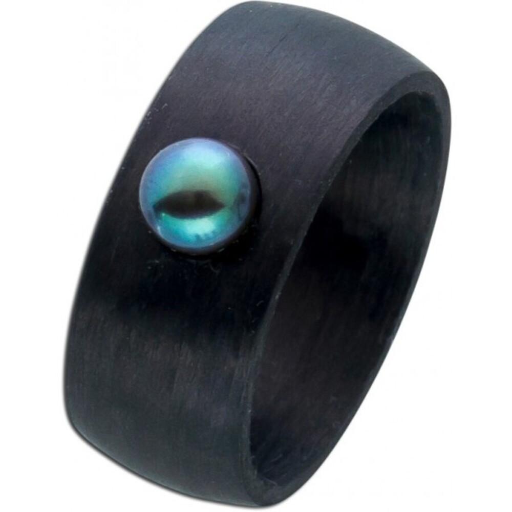 Carbon Bandring schwarz grauer Perle Damenring Toyo Yamamoto 1