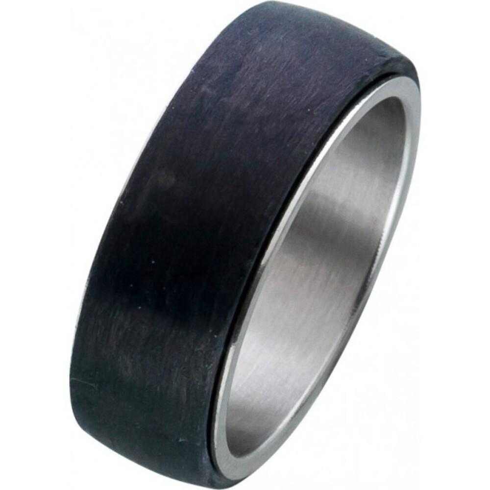 Edelstahlring schwarzem Carbon Unisexring Toyo Yamamoto  1