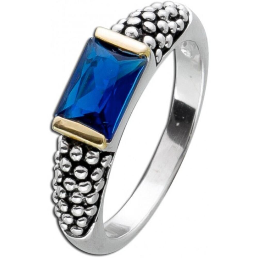 Solitär Zirkoniaring dunkelblau Silber 925 Baguette Saphir Stein 2