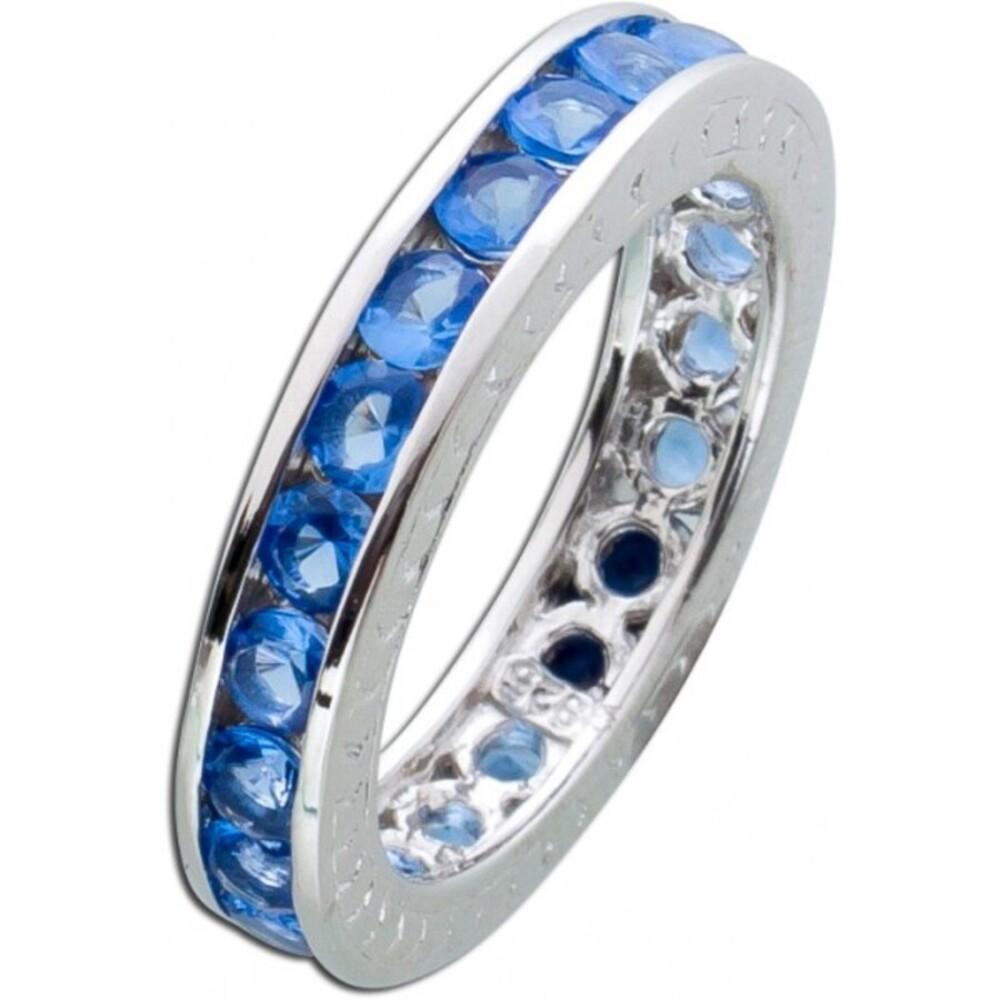 blauer Memoire Ring Alliancering Silber 925 Safir Zirkonia Vorsteckring 1
