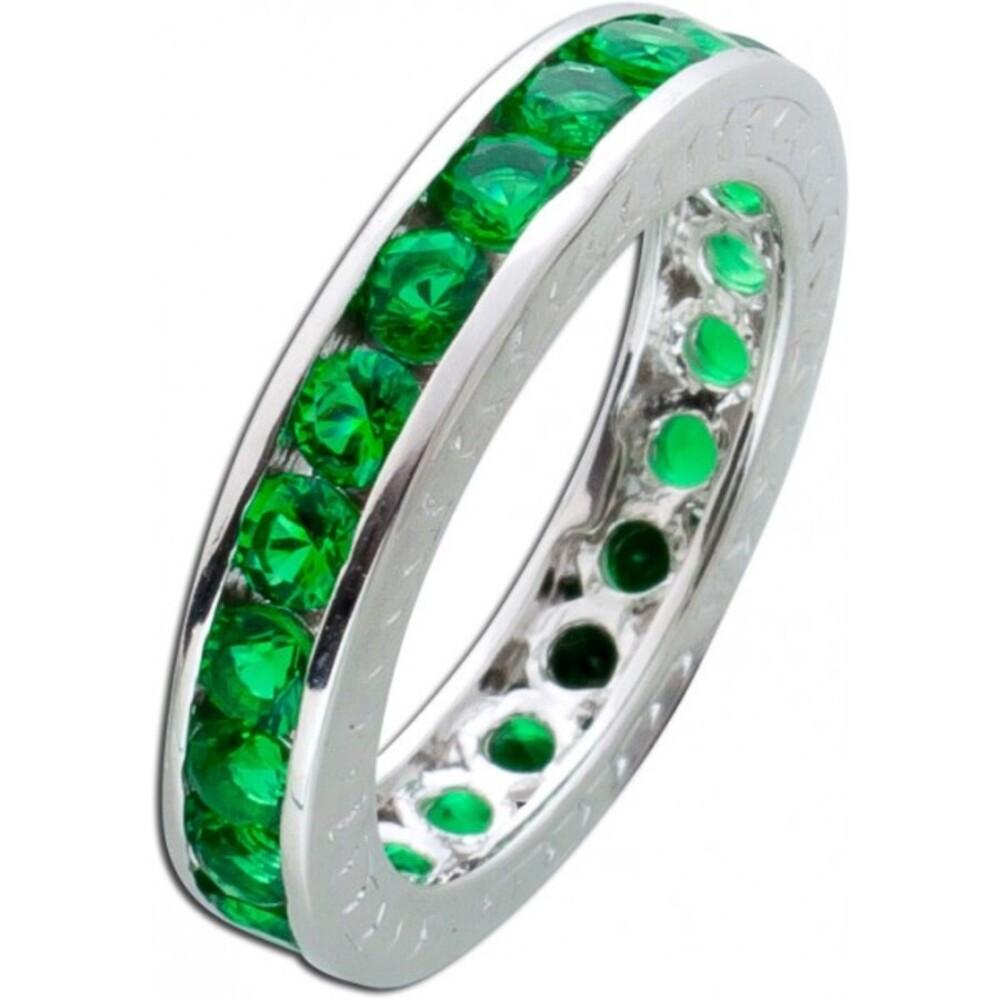 dunkel grüner Memoire Ring Alliancering Silber 925 Smaragd Zirkonia Vorsteckring 2
