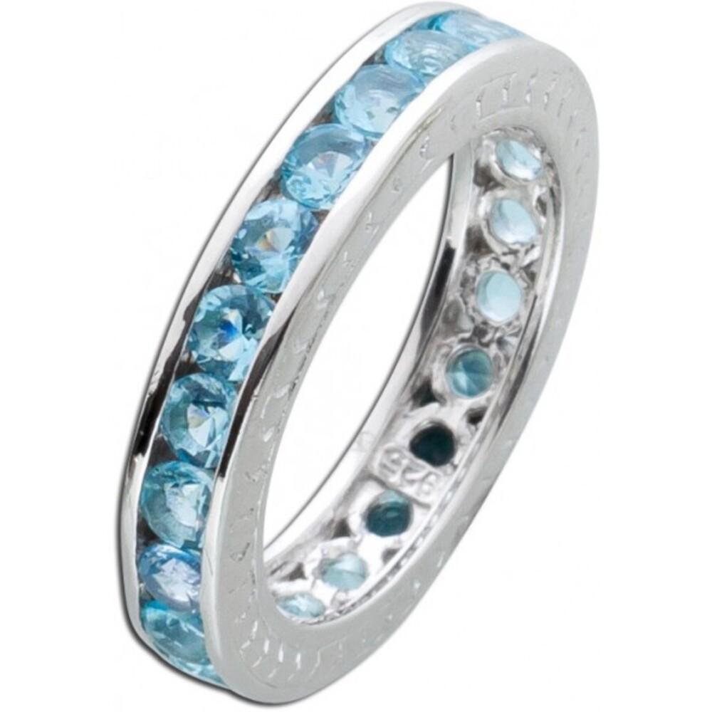 Memoire Ring Alliancering hellblau Silber 925 Blautopas Zirkonia Vorsteckring 1