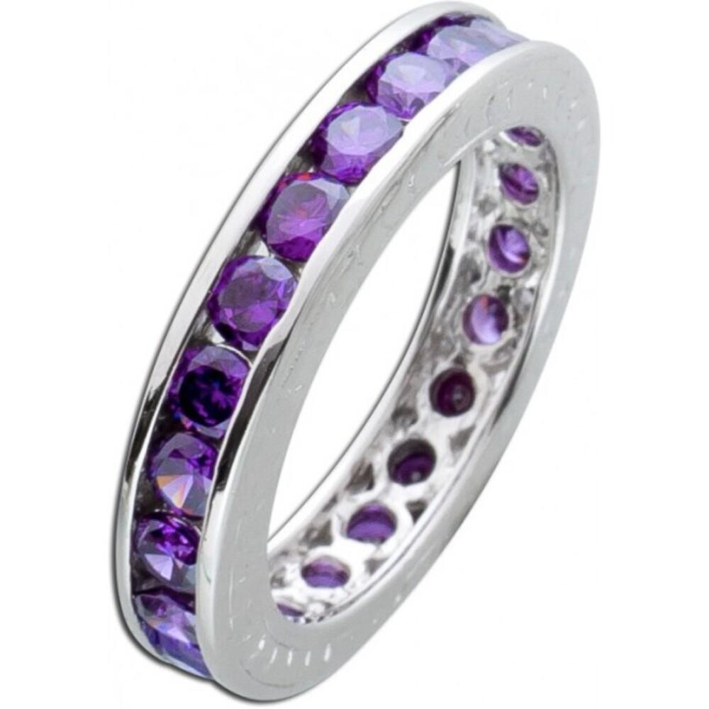 violetter Memoire Ring Alliancering Silber 925 lila Amethyst Zirkonia Vorsteckring 2