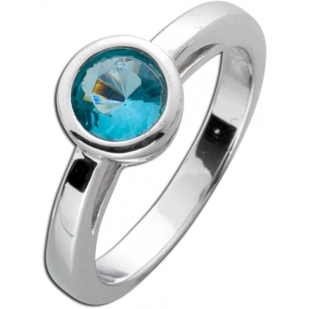 Solitär Ring blau Silber 925 Blautopas Verlobungsring steckring Zirkonia Sterling 1