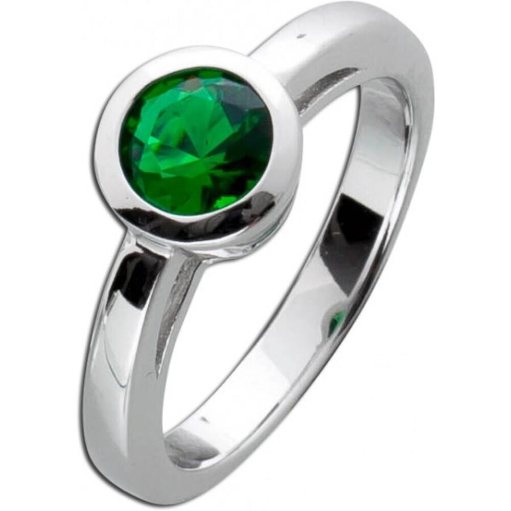Solitär Ring Smaragd Grün Sterling Silber 925  Zirkonia 2