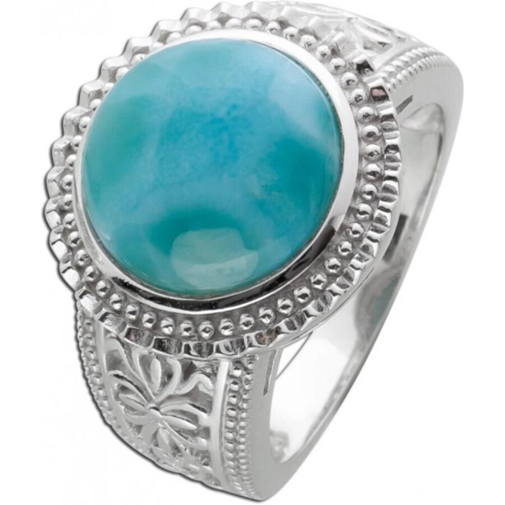 Edelstein Ring runden hellblauen Larimar Silber 925  1