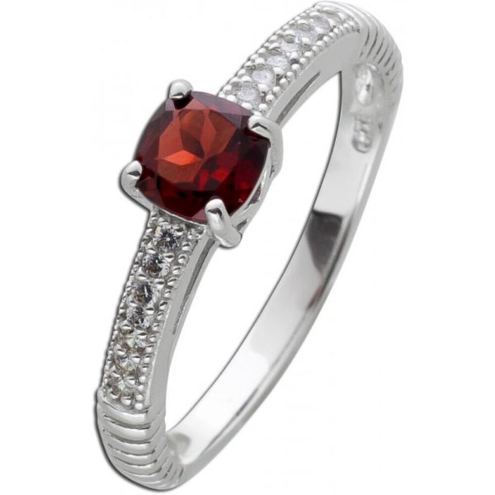 Rechteckiger roter Granat Ring Silber 925 Zirkoniaschmuck 1