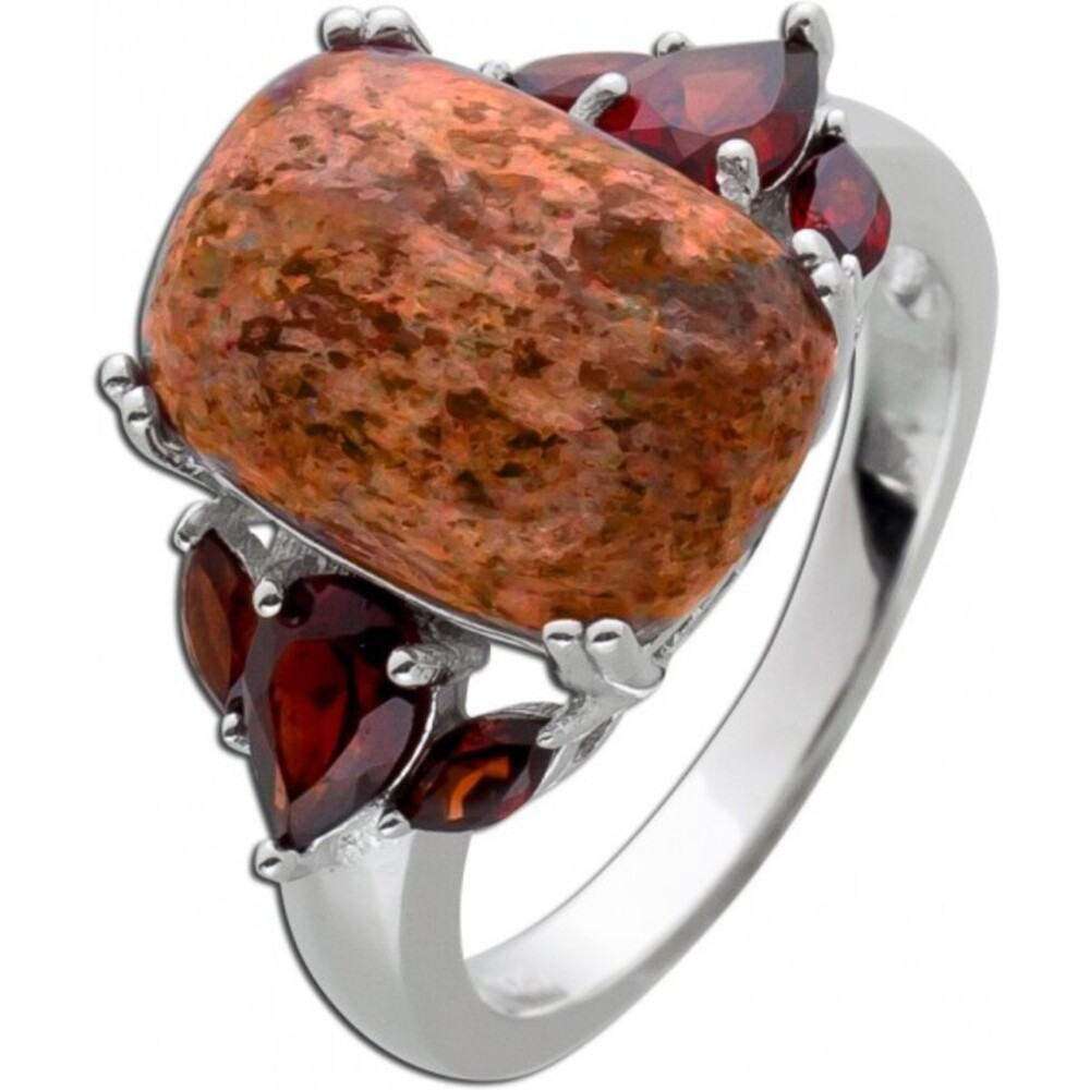 Edelstein Ring roten Granaten Sonnenstein Silber 925 1