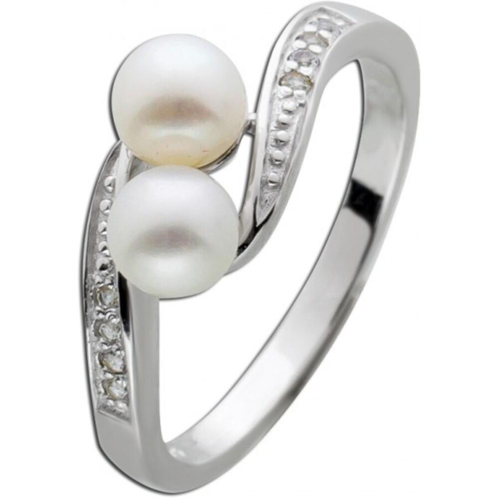 Perlen Ring geschwungen weißen Süsswasserzuchtperlen Silber 925 Topase  1