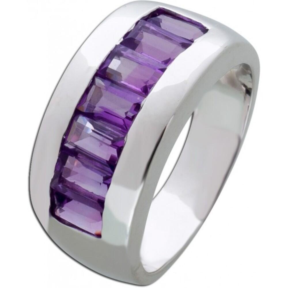 Edelstein lila Ring Silber 925 Amethyst Memoire Silberring