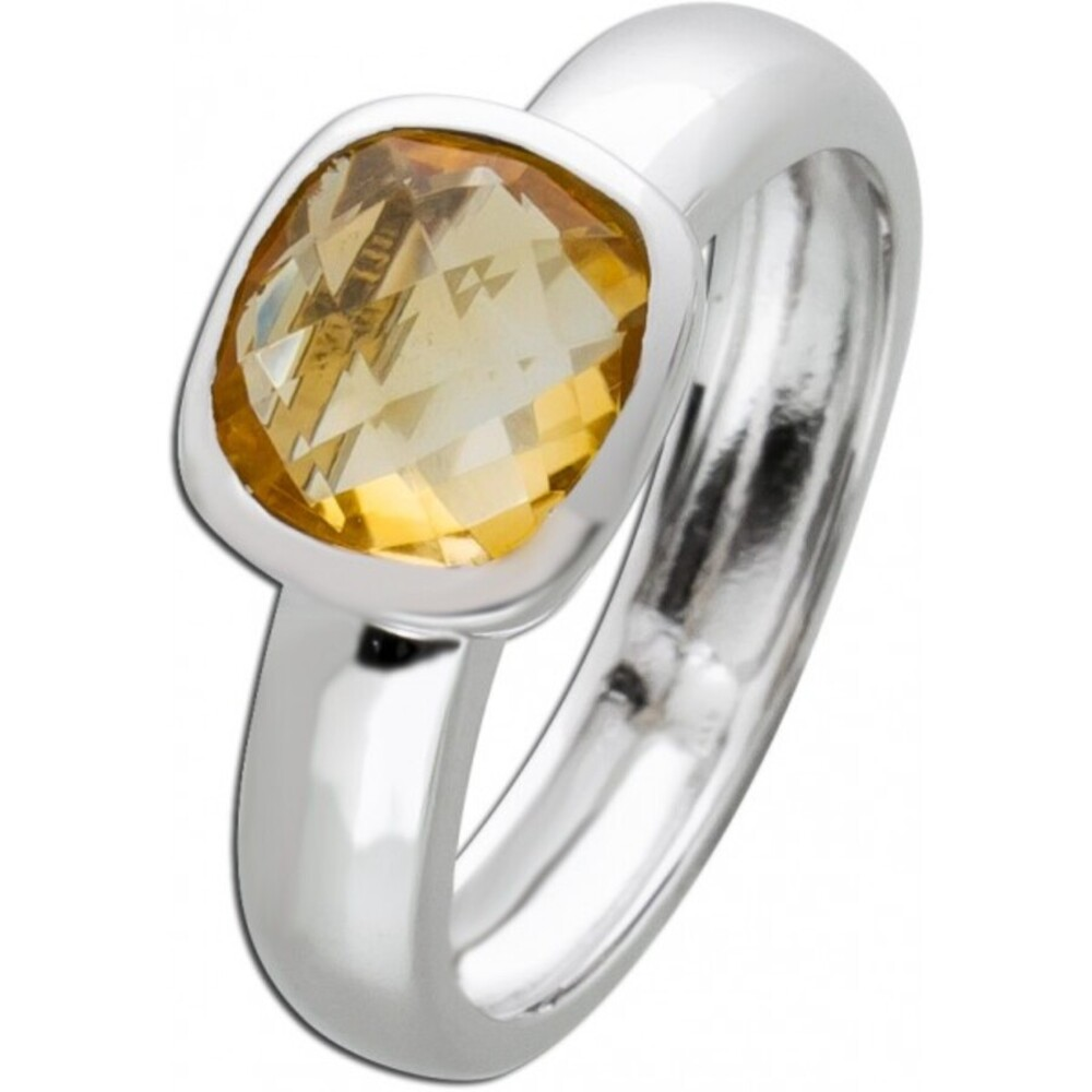 Silberring Citrin Ring Silber 925 Edelstein gelb Edelsteinschmuck