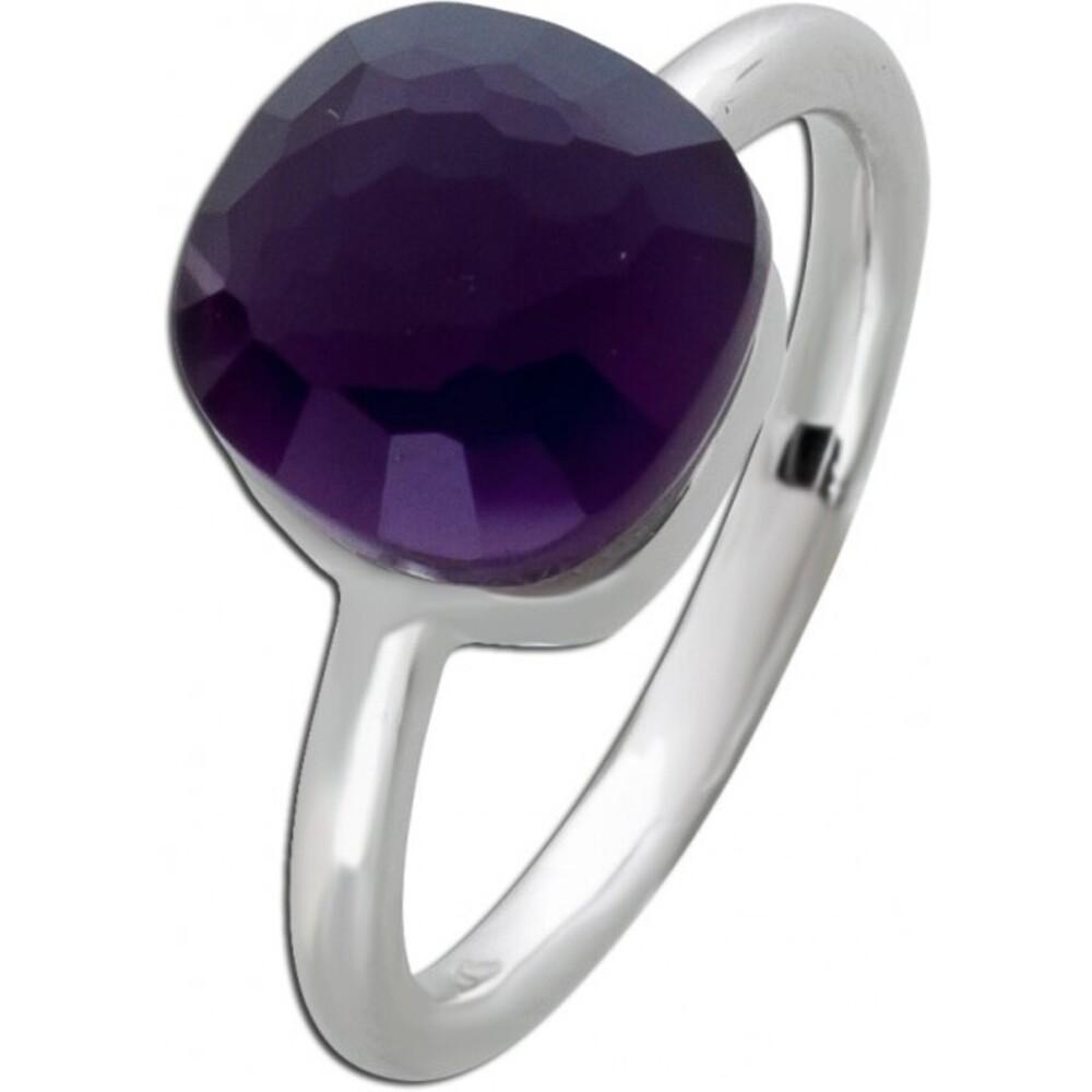 Silberring Perlmutt Ring Silber 925 lila Zirkonia Toyo Yamamoto