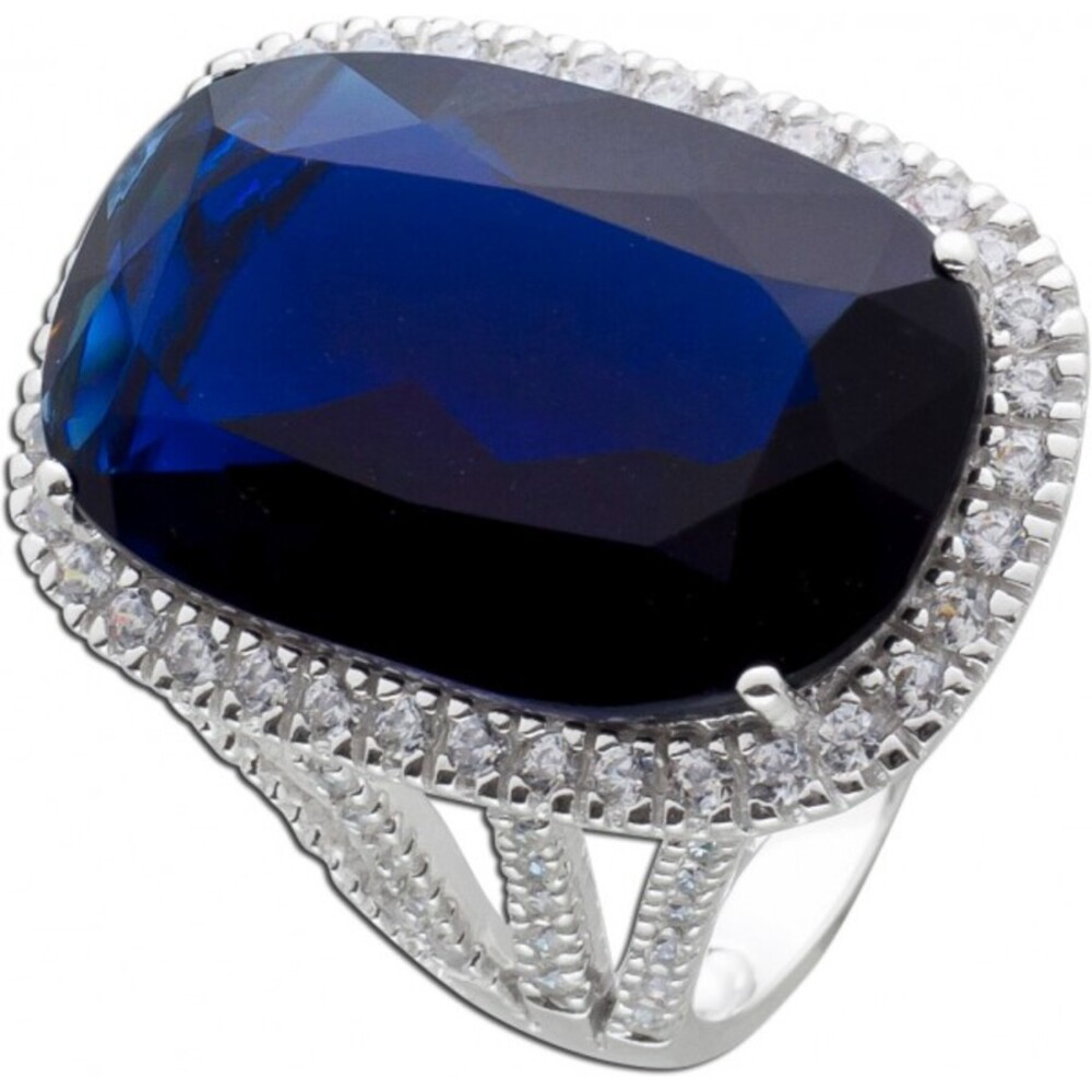 Cocktail Ring Silber 925 blau weiß Zirkonia Damenring Silberring