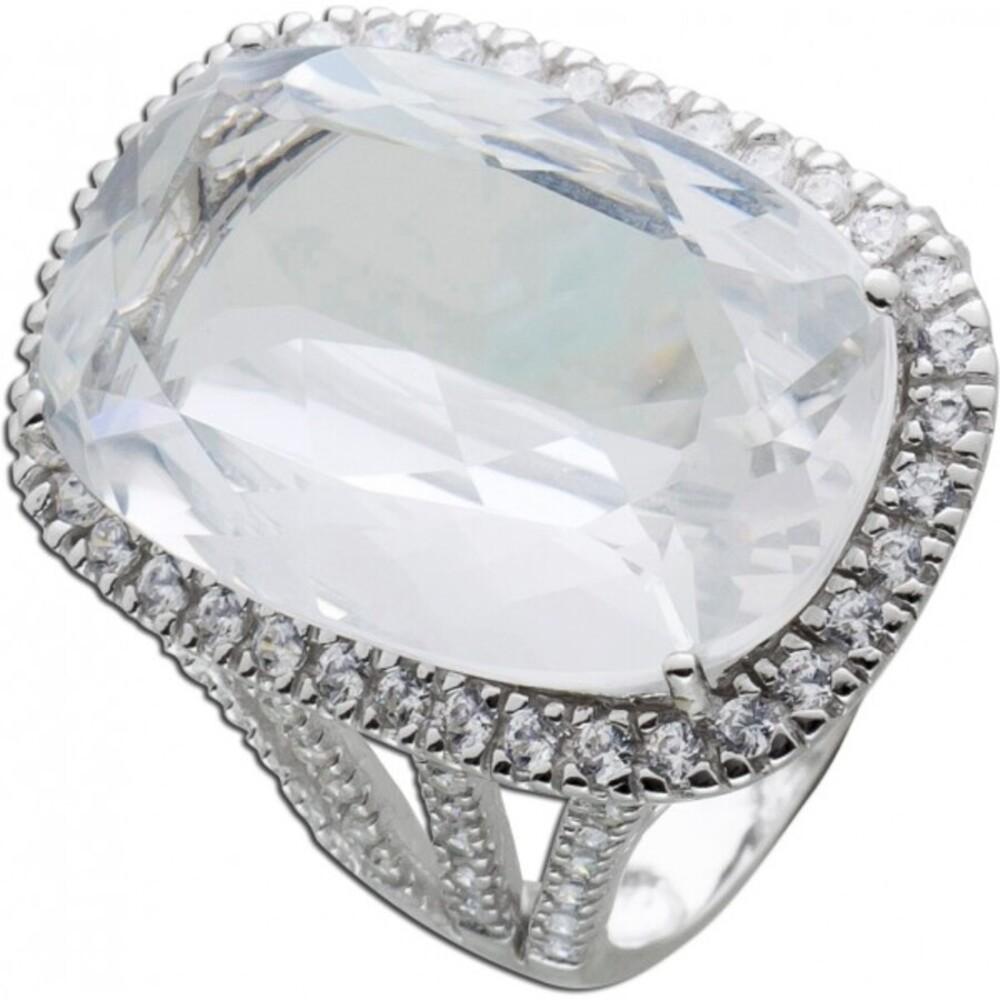Cocktail Ring Silber 925 Stein weiß Zirkonia Silberring Damenring
