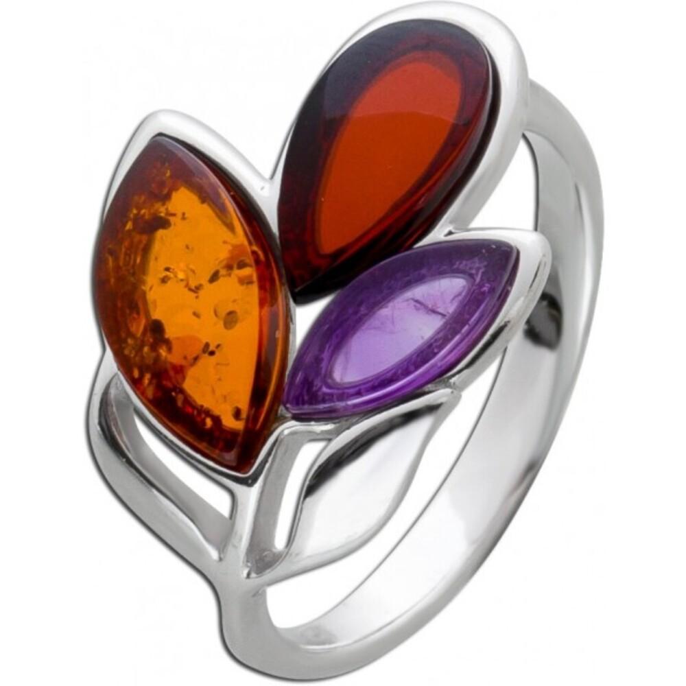 Edelstein Blatt Ring Silber 925 violetter Amethyst Cherry/ braunem Bernstein