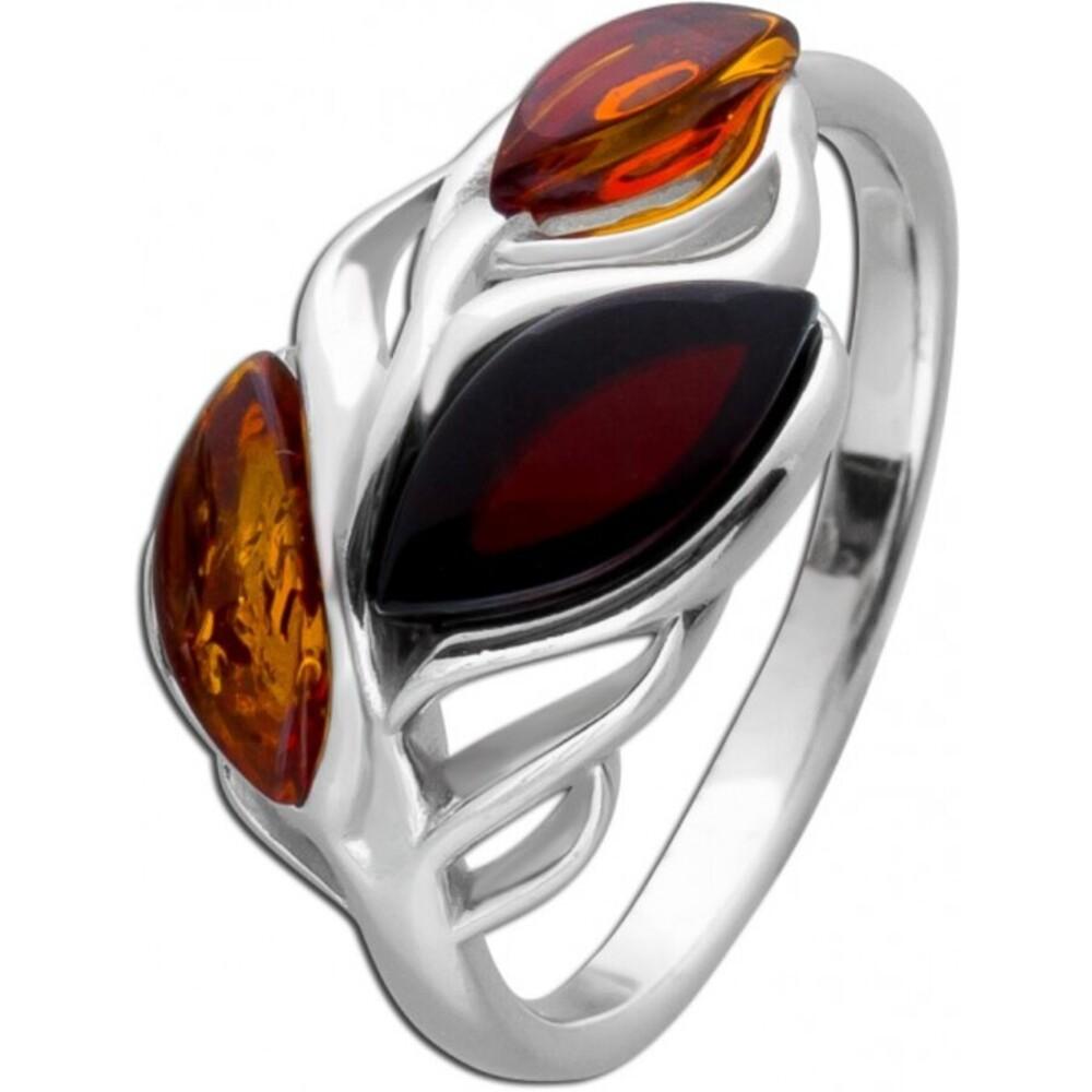 Blatt Edelstein Ring Silber 925 Bernstein Braun/Cherry Navette Cabochon