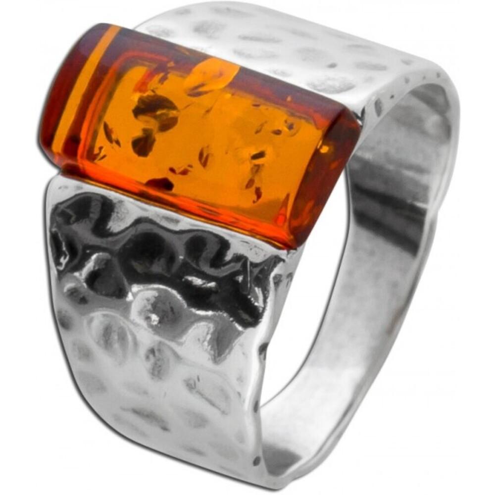 Edelstein Ring Silber 925 brauner Bernstein teils geschwärzt gehämmert