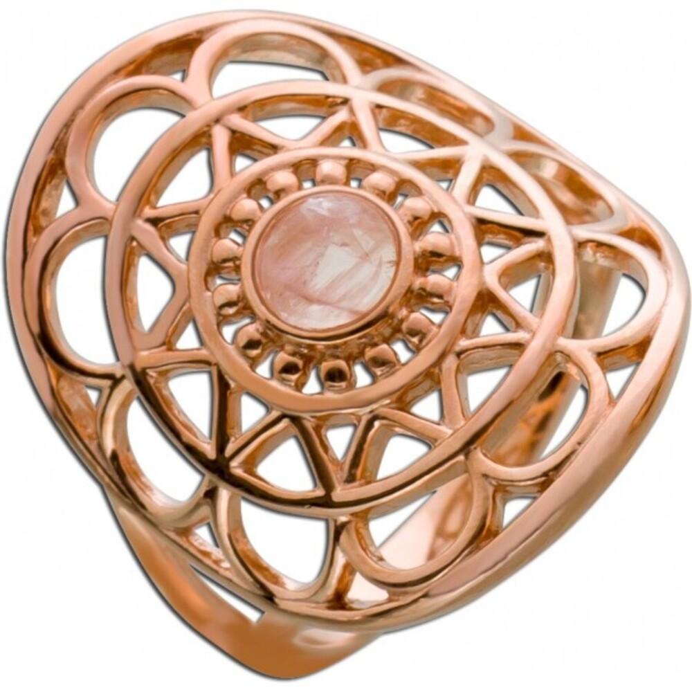 Edelstein Ring Lebensblume Silber 925 rose vergoldet  Rosenquarz Cabochon