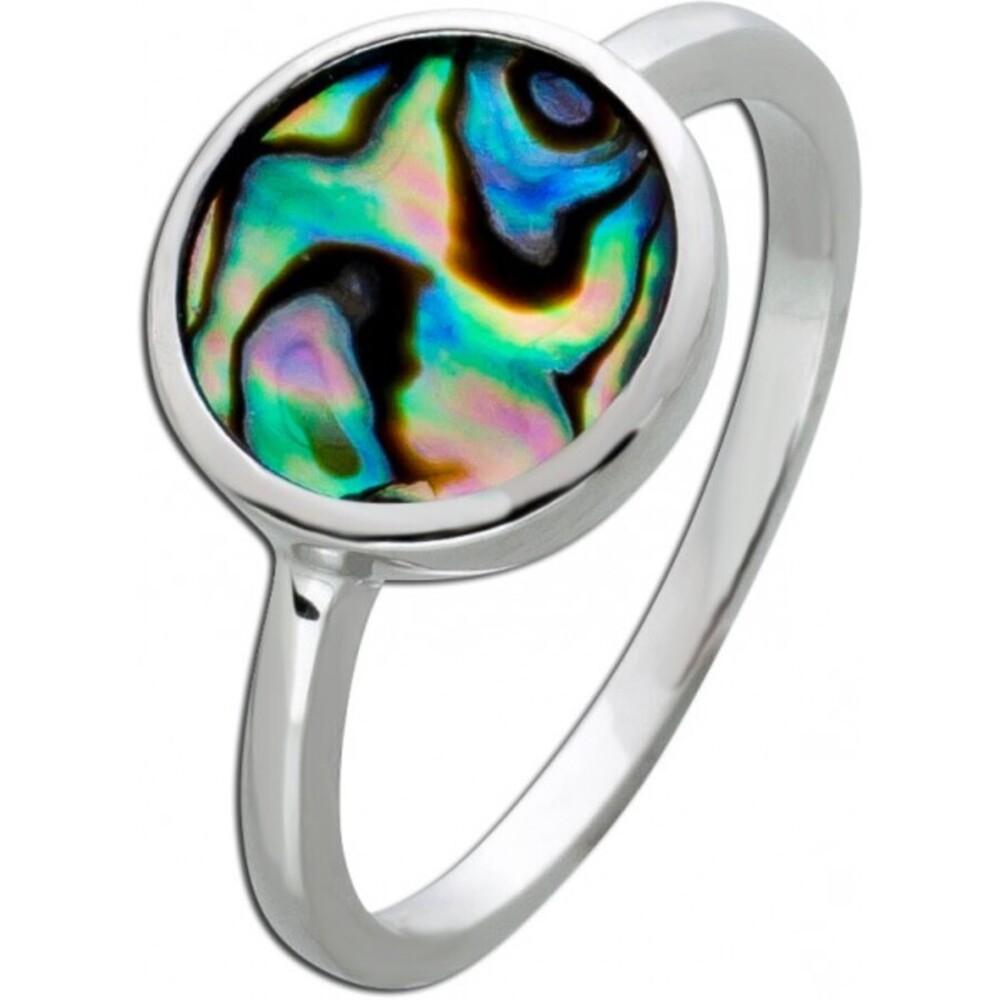 Perlmutt Ring Silber 925 Abalone Perlmutt Edelstein dunkel_01