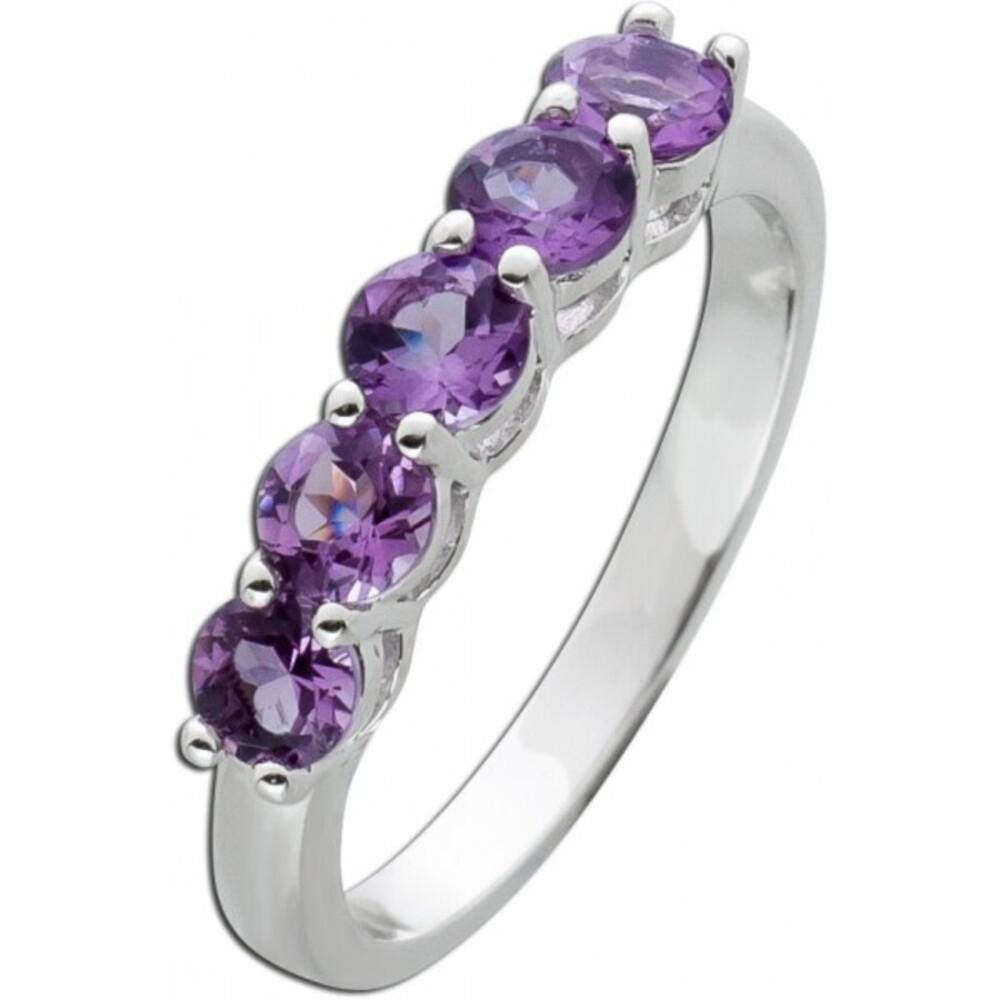 Edelstein Memoire Ring Silber 925 violette Amethyste_01