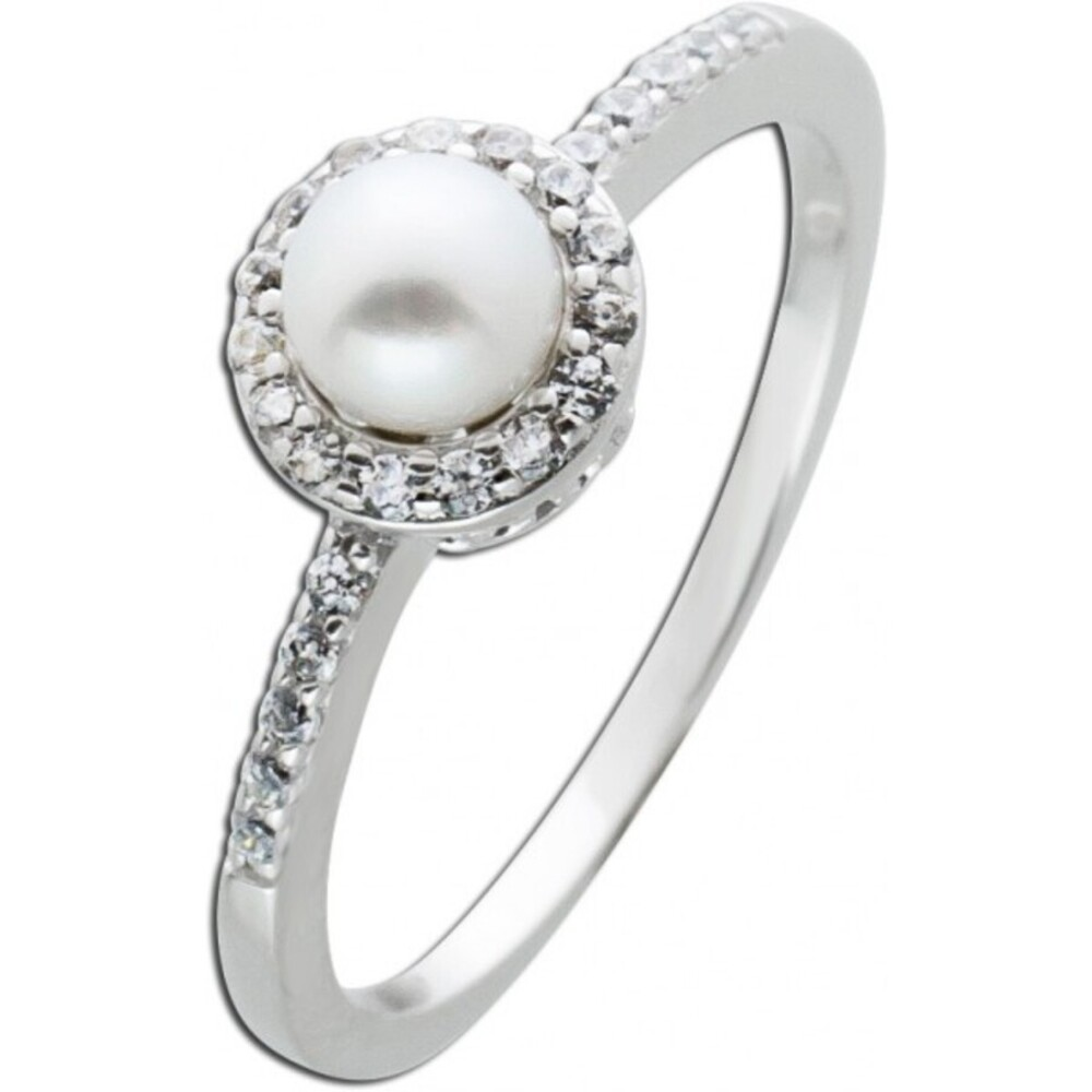 Perlen Zirkonia Ring Silber 925 weisse Süsswasserperle_01