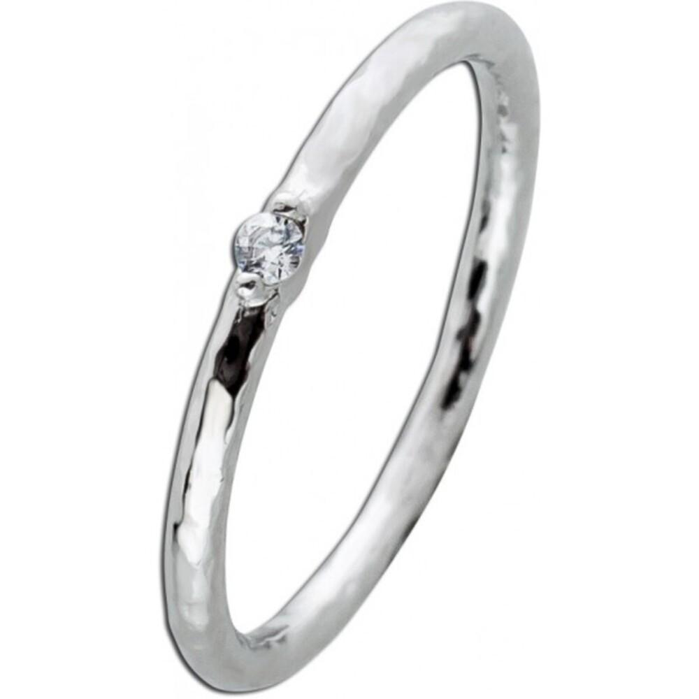 Solitär Ring Silber 925 weisser Zirkonia unebene Struktur Damen 16-20mm_01