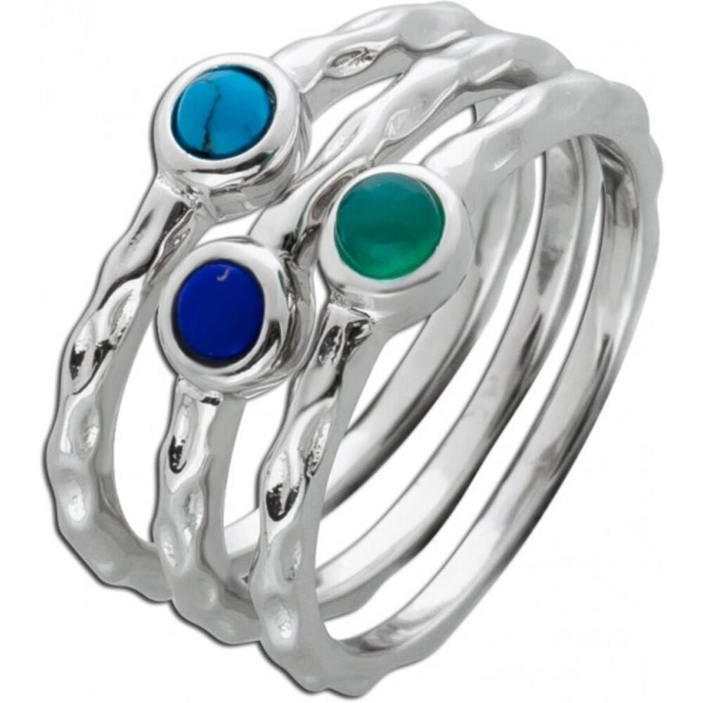 Buntes Ring Set 3-teilig Türkis Lapislazuli Chromdiopsid Silber 925  1