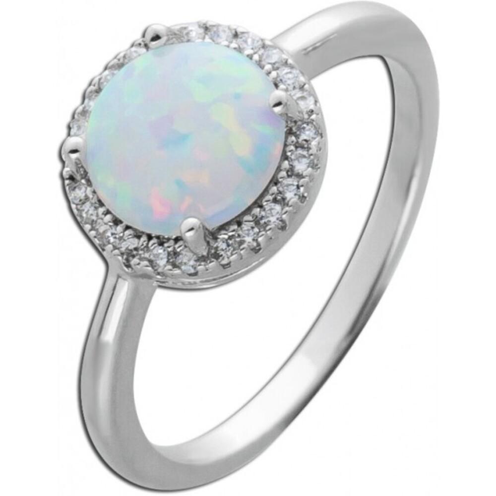 Synthetischer Opal Ring weiß blau schimmernd Silber 925 Zirkonia  1